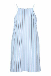 Womens Plus Stripe Strappy High Neck Sundress - blue - 22, Blue