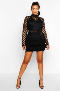 Womens Plus Premium High Neck Statement Ruffle Dress - black - 20, Black