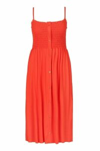 Womens Plus Button Detail Sheered Midi Dress - orange - 20, Orange