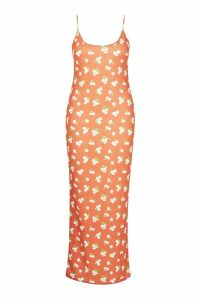 Womens Plus Large Scale Floral Strappy Maxi - orange - 18, Orange