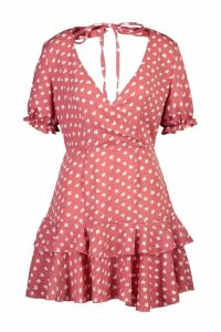 Womens Petite Abstract Spot Wrap Frill Hem Tea Dress - pink - 12, Pink