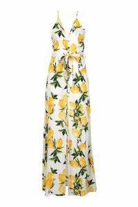 Womens Petite Lemon Print Button Detail Maxi Dress - white - 10, White