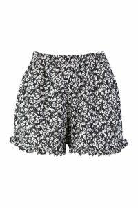 Womens Plus Floral Print Ruffle Hem Flippy Shorts - black - 16, Black