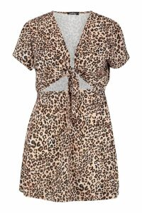 Womens Plus Leopard Tie Front Skater Dress - brown - 20, Brown