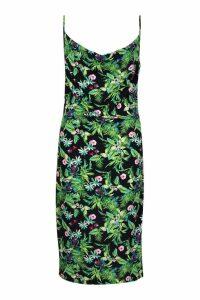 Womens Plus Woven Slip Midi Dress - black - 22, Black