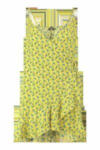Womens Plus Ditsy Floral Ruffle Wrap Dress - yellow - 18, Yellow