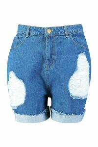 Womens Plus Distressed Turn Up High Waist Denim Shorts - mid wash - 16, Mid Wash