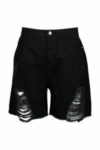 Womens Plus Distressed Mom Denim Shorts - black - 20, Black