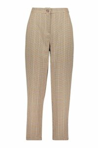 Womens Woven Check Tapered Trousers - brown - 14, Brown