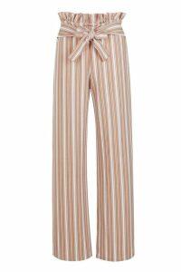 Womens Crepe Stripe Paperbag Wide Leg Trouser - Beige - 8, Beige