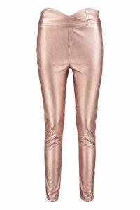Womens Leather Look Curved Waist Skinny Trousers - metallics - 14, Metallics