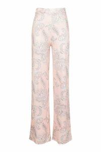 Womens Paisley Slinky Wide Leg Palazzo Trousers - orange - 10, Orange
