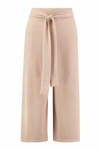Womens Petite Self Fabric Belted Culottes - beige - 10, Beige