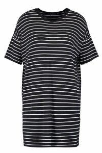 Womens Petite Stripe T-Shirt Dress - black - 4, Black