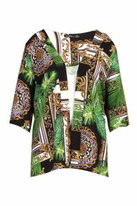 Womens Plus Jungle Snake Longline Kimono - green - 22, Green