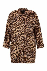 Womens Plus Leopard Print Oversized Shirt - brown - 16, Brown