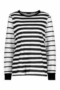 Womens Long Sleeve Stripe T-Shirt - black - 12, Black
