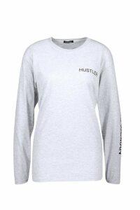 Womens Hustler Long Sleeve Slogan T-Shirt - grey - S, Grey