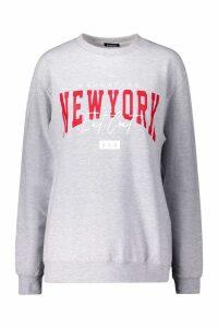 Womens New York Slogan Sweat - grey - S, Grey