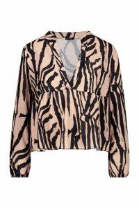 Womens Zebra Print Plunge Woven Smock Top - brown - 6, Brown