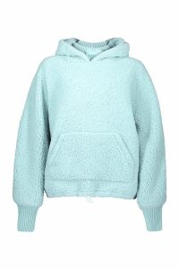 Womens Knitted Borg Roll Neck Hoodie - green - S, Green