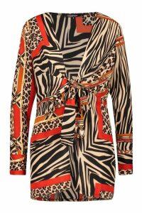 Womens Chain Print Tie Front Kimono - beige - XS, Beige