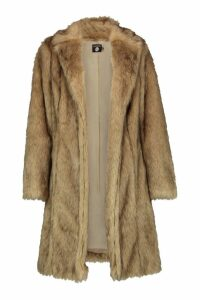 Womens Tall Faux Fur Coat - beige - 16, Beige