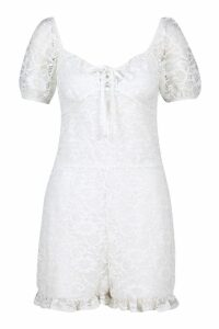 Womens Lace Puff Sleeve Sweetheart Playsuit - white - 16, White