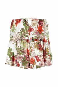 Womens Tropical Print Flute Sleeve Playsuit - white - 8, White