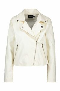 Womens Faux Leather Zip Biker Jacket - white - 14, White