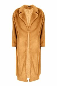 Womens Maxi Faux Fur Coat - beige - 14, Beige