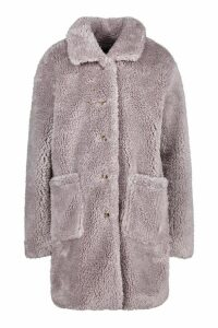 Womens Button Through Teddy Faux Fur Coat - grey - 12, Grey