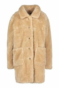 Womens Button Through Teddy Faux Fur Coat - beige - 10, Beige