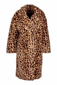 Womens Oversized Leopard Faux Fur Coat - brown - 14, Brown