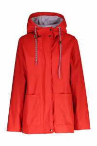 Womens PU Coated Hooded Rain Mac - red - 10, Red