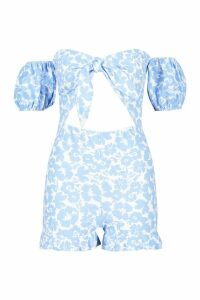 Womens Baby Floral Knot Front Playsuit - blue - 16, Blue
