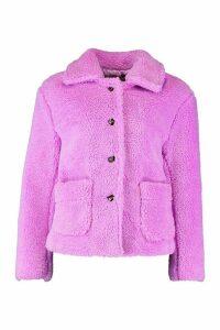 Womens Button Through Teddy Faux Fur Coat - purple - 14, Purple