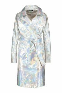 Womens Holographic Trench Coat - grey - 14, Grey