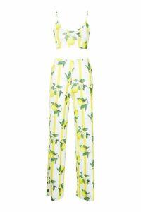 Womens Fruit Stripe Print Bralet & Wide Leg Trouser Co-Ord - yellow - 14, Yellow