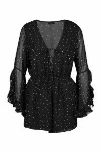 Womens Polka Dot Flare Ruffle Sleeve Playsuit - black - M, Black