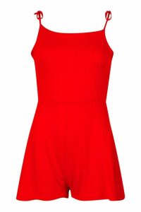 Womens Tie Shoulder Square Neck Jersey Playsuit - red - 12, Red