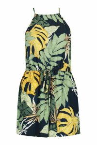 Womens High Neck Tropical Print Playsuit - navy - 10, Navy