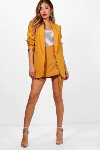 Womens Ruched Sleeve Blazer - yellow - M, Yellow