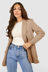 Womens Ruched Sleeve Blazer - beige - M, Beige
