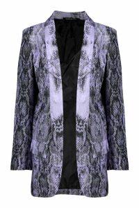 Womens Snake Print Blazer - purple - 12, Purple