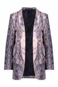 Womens Snake Print Blazer - Pink - 12, Pink