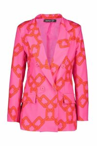 Womens Chain Print Double Breasted Blazer - Pink - 10, Pink