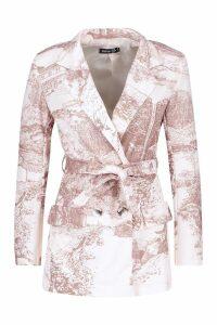 Womens All Over Printed Belted Blazer - beige - 14, Beige