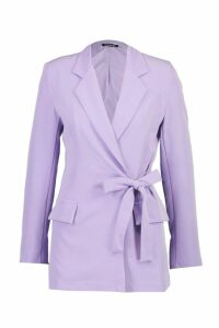 Womens Wrap Tie Side Blazer - purple - 12, Purple