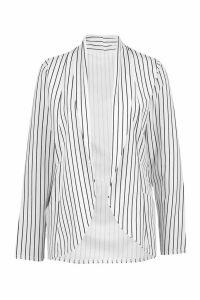 Womens Pinstripe Blazer - white - S, White